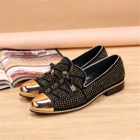 New Gold Toe and Gold Crystal Tassel Men Loafers Men Fashion Leather Slippers Men Party Wedding Dress Shoes Mens Flats size 46