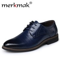 Merkmak Big Size Oxfords Men Shoes Fashion Casual Newly Pointed Top Formal Business Male Lace Up Wedding Dress Flats Wholesales