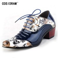 Genuine Leather Men Shoes Casual Oxford Shoes For Men Print Men Dress Shoes Brogue Wedding Shoes Party Sapato Masculino BRM-291