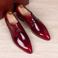 mens business wedding work dress bright genuine leather shoes point toe oxford shoe lace up Korean fashion Zapatos Hombres man