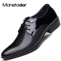 Monstceler Brand Patent Mens Dress Shoes For Men Pointed Toe Shoe Breathable Fashion Male Wedding Oxford Flats M3199