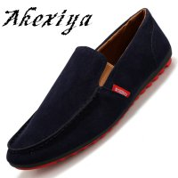 Akexiya Brands Hot Sale Flock Leather Men Shoes Casual Comfortable Driving Soft Loafers Business Wedding Flat