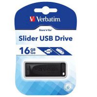 Flashdisk Verbatim Slider 16GB Black / Flash Disk Verbatim Slider 16 GB