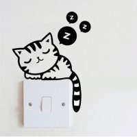 [globalbuy] DIY Funny Cute Cat Dog Switch Stickers Wall Stickers Home Decoration Bedroom P/4491658
