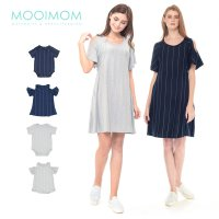 MOOIMOM Cold Shoulder Nursing Dress & Baby Clothes Baju Hamil Menyusui Couple Ibu Anak