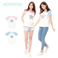 MOOIMOM Star Nursing T-shirt Couple Set Baju Hamil Menyusui Couple Ibu Anak