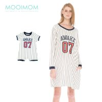 MOOIMOM Baseball Long Sleeves Nursing Dress & Baby Clothes Baju Hamil Menyusui Couple Ibu Anak