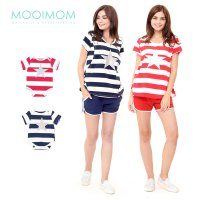 MOOIMOM Star Stripe Nursing Couple Set Baju Hamil Menyusui Couple Ibu Anak