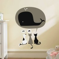 [globalbuy] Cartoon 3 Lovely cat Have Dream Cake Mouse Whale wall stickers for Kids Rooms /4489611
