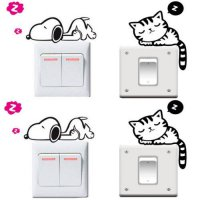 [globalbuy] 1PC Funny Cat Dog Removable Art Vinyl Switch Sticker Home Wall Window Decor NE/4489252