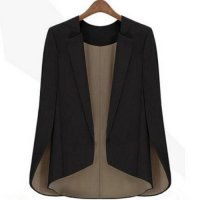 [globalbuy] Fashion new Womens Basic Coat Slim Suit black Jacket runway shawl cape blazer/3878464