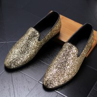Fashion Male Pointed toe Slip-On shoes Genuine leather Luxury Loafers Youth trend Boat shoes Male Wedding shoes Gold Black 202