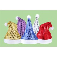 [globalbuy] Deluxe Sequin Santa Hat Outfit Accessory for Christmas Day Fancy Dress childre/4440385