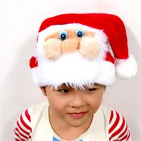 [globalbuy] Top Plush Christmas Hat Cute Masks Santa Claus Caps Adult Child Xmas Hats For /4439599