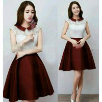 DRESS NEVARA (ZA)BAHAN BRUKAT FURING ROK JERSEY FIT TO L