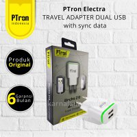 PTron Electra TRAVEL ADAPTER DUAL USB with sync data