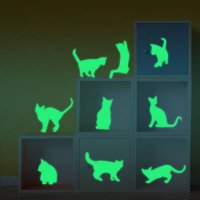 [globalbuy] Wall Stickers Luminous DIY Cute Cat Switch Sticker Glow In The Dark Living Roo/4420628