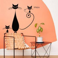 [globalbuy] China Art design cheap home decoration vinyl creative cats wall sticker remova/4420203
