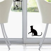 [globalbuy] Creative Cat Birds Switch Stickers Wall Fridge Stickers Bedroom Parlor Decorat/4420111