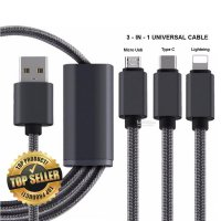 Kabel Data 3 in 1 USB tipe C Micro USB Apple Lightning USB Kabel
