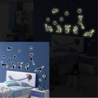[globalbuy] Luminous Fluorescent Wall Stickers Cat Art Decals for Children Bed Room Home D/4419666