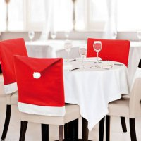 [globalbuy] 4pcs/lot Cute Santa Clause Red Hat Chair Back Cover Christmas Dinner Table Par/4418013