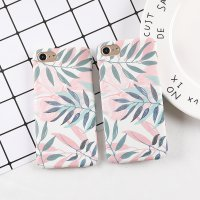 MAYO CASE iPhone 5 5s SE 6 6s 7s 7 8 plus X Pink Green Leaves Cute Daun Hard Case Casing HP