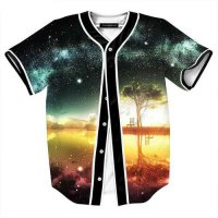 [globalbuy] 2016 New Space Galaxy Baseball Shirt Men Summer Brand Short Sleeve V-neck 3d I/4181919
