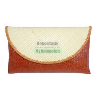 DT-1715 Clutch Croco Medium Dompet Anyaman Pandan Bisa Decoupage
