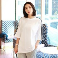 Three line short sleeve tee korea fashion style free shipping