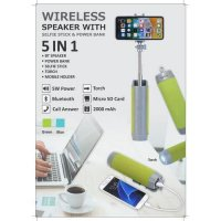 Wireless Speaker with Power Bank and Selfie Stick Torch stand