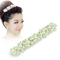 Free Shipping Han edition hair White pearl crystal bride headdress by hand Wedding dress accessories