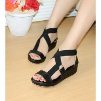 SANDAL WEDGES WANITA KARET SDW217TB-1128 HITAM[wedges][women shoe]
