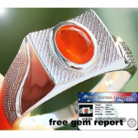 CINCIN NATURAL MEXICAN FIRE OPAL SOLID 925 STERLING SILVER SZ.10