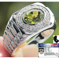 CINCIN NATURAL GREEN PERIDOT & WHITE TOPAZ SOLID 925 SILVER SZ.10