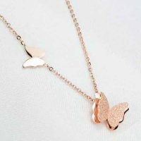 RFSJUL417 Minimalist Butterflys Titanium Steel Rose Gold Plated 18k Rose Gold