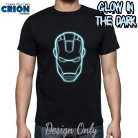 Kaos Glow In The Dark Blue - Ironman Face Logo - By Crion