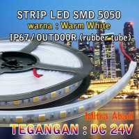 (Promo Gajian) Lampu LED Strip SMD 5050 Warm White DC 24V IP67 + Rubber Tube