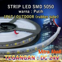 [Ready] Lampu LED Strip SMD 5050 Putih/White DC 24V IP67 + Rubber Tube