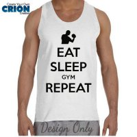 Kaos Oblong - Tanktop Fitnes - ' Eat Sleep Gym Repeat ' by Crion