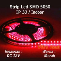 [Promo Gajian] Flexible Lampu LED Strip Red/Merah SMD 5050 DC12V IP33 INDOOR ONLY