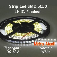 M.U.R.A.H Flexible Lampu LED Strip White/Putih SMD 5050 DC12V IP33 INDOOR ONLY