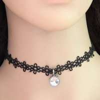 Choker diamond pendant flower - Black