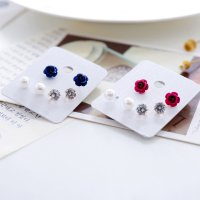 [Free delivery]3pcs In 1 group Fashion female pearl diamond earrings
