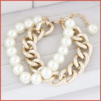 KB38347 Gelang Gold Chain & Pearl