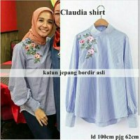 Promo blouse top atasan tunik claudia blue