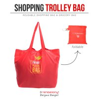Trolley Shopping Bag D'renbellony (Tas Belanja Grocery Tote Bag) Red
