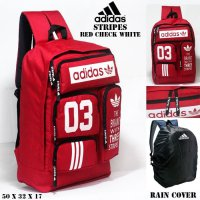 Tas Casual ransel adidas stripes Merah check Putih free rain cover