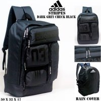 Tas casual ransel adidas stripes abu and hitam bonus rain cover