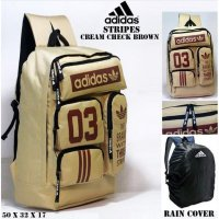 Tas casual ransel adidas stripes crem and coklat bonus rain cover